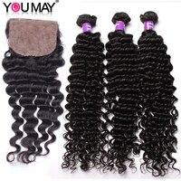 Brazilian Deep Wave Hair Weave Bundles With Silk Base Closure Natural Color Human Hair Bundles With Closure Bleach Knots You May