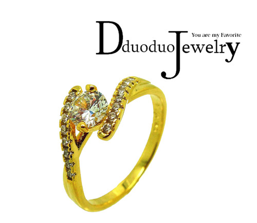 24 Gold Color Unbelievable Charming Rings Gift Cubic Zirconia font b Luxurious b font Rings For
