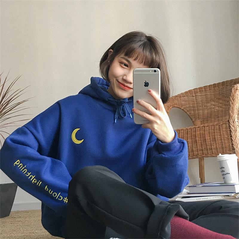 2018 Women'S Harajuku College Wind Moon Sun Letter Thick