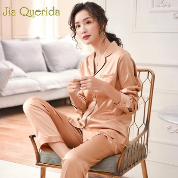 Luxury Gold Satin Home Suit Women Satin Pajamas Plus Size Sleepwear 2019 New Breathable Satin Silk High-Density Satin Pajama Set фото