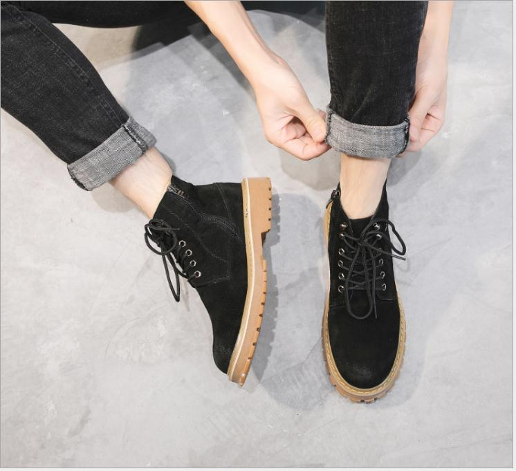 boots Style Arrivée Hommes Chaussures Shoes boots Single Taille Nouvelle Mâle Shoes boots Boot Printemps 2018 Mode Martin Bottes Suede Travail Cuir De En Unisexe Amant Grande single Automne dBrxCoeW