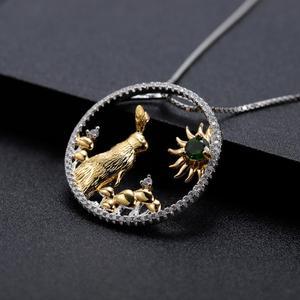 Image 5 - GEMS BALLETT 925 Sterling Silber Handgemachte Kaninchen Pilze Natürliche Chrom Diopsid Anhänger Halskette Für Frauen Sternzeichen Schmuck