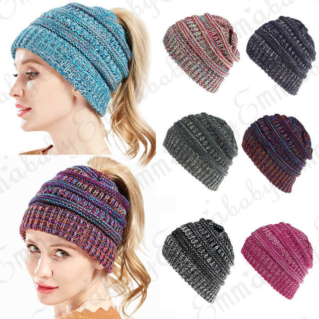 13400e1b2 Women Winter Autumn Hot Beanie Tail Soft Stretch Cable Knit Messy High Bun  Ponytail Beanie Hat-in Skullies & Beanies from Women's Clothing & ...
