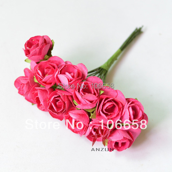 Us 2 39 144pcs 2cm Artificial Paper Flower Diy Card And Gift Box Rose Flower Bouquet Hot Pink In Artificial Dried Flowers From Home Garden On