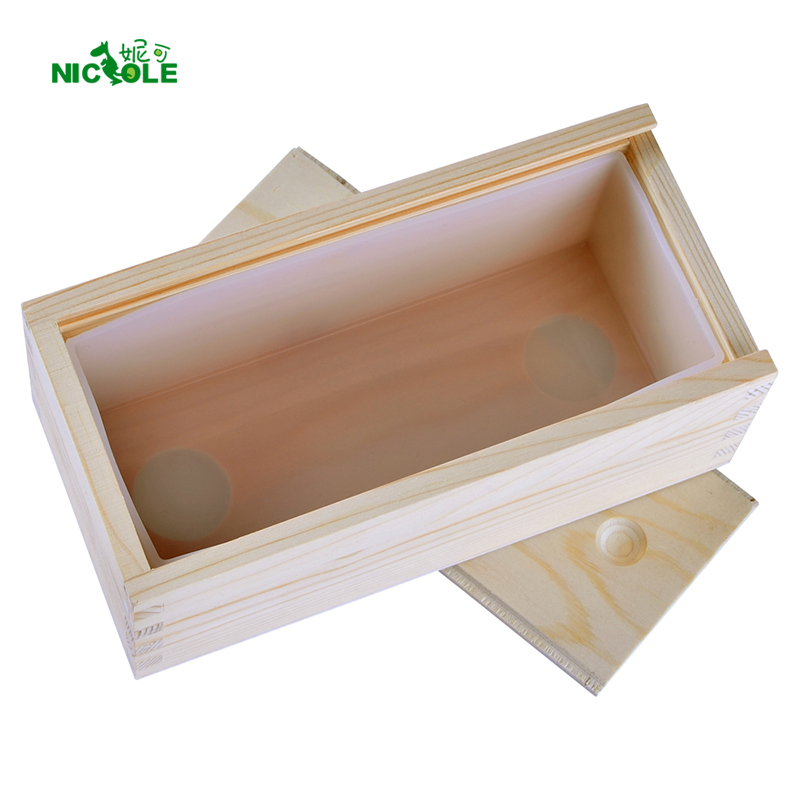 Small Rectangle Silicone Soap Mold with Wooden Box Handmade Tost Loaf Mould