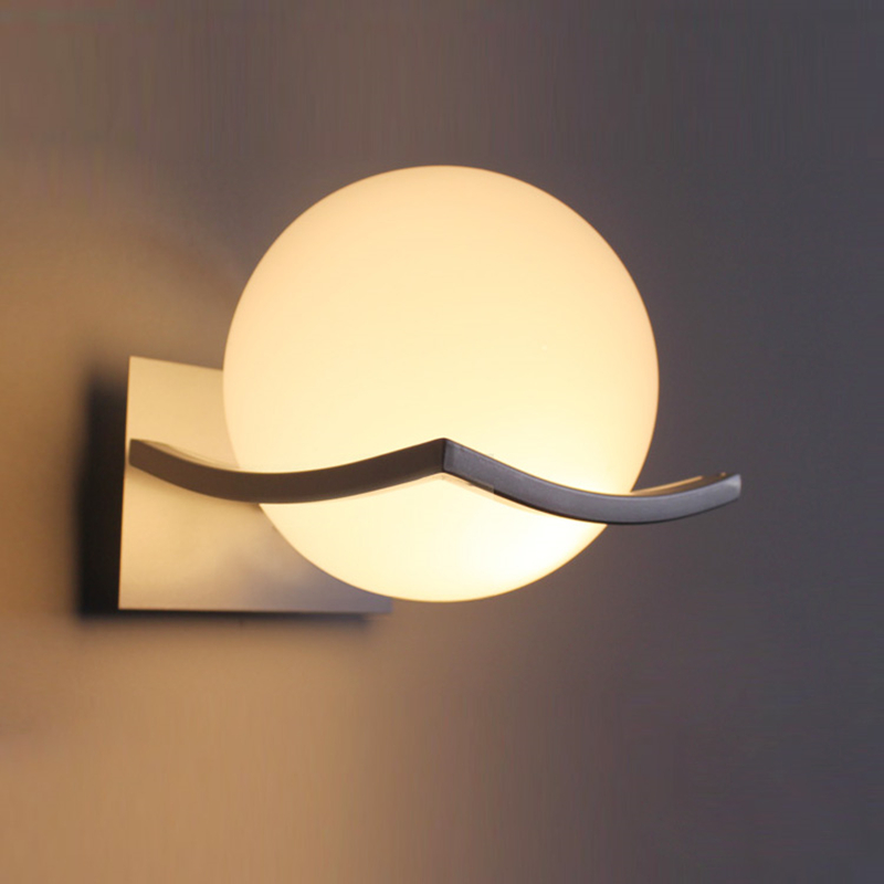 Buy White Glass Global Ball Modern Indoor Wall Lighting Fixt