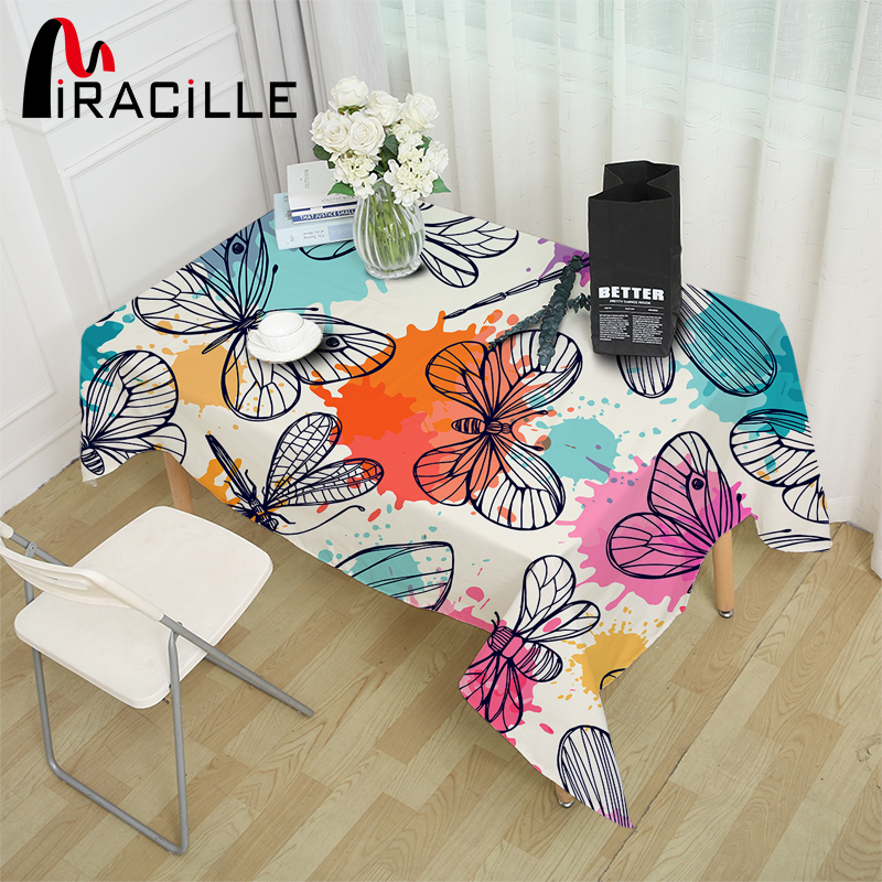 Miracille Pastoral Tablecloth Waterproof Polyester Lovely Butterfly Dragonfly Print Table Cover Home Restaurant Party Decoration