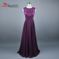 2016 Real Foto Barato Púrpura Oscuro Vestido de Dama de Scoop Escote gasa piso-longitud del v backless largo vestido de dama de honor vestido