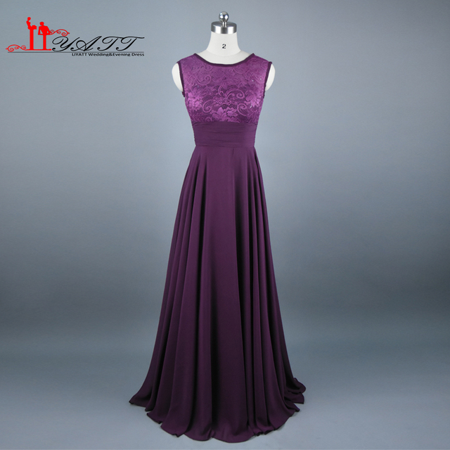 0fd6b437486 2016 Real Photo Cheap Dark Purple Bridesmaid Dress Scoop Neckline Chiffon  Floor Length Lace V Backless Long Maid of Honor Dress