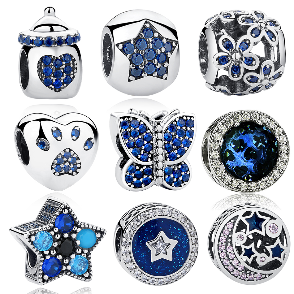 ELESHE Authentieke 925 Sterling zilveren kralen Blue Crystal Pet Paw Heart Star Daisy Charm Fit Originele Pandora armband DIY sieraden