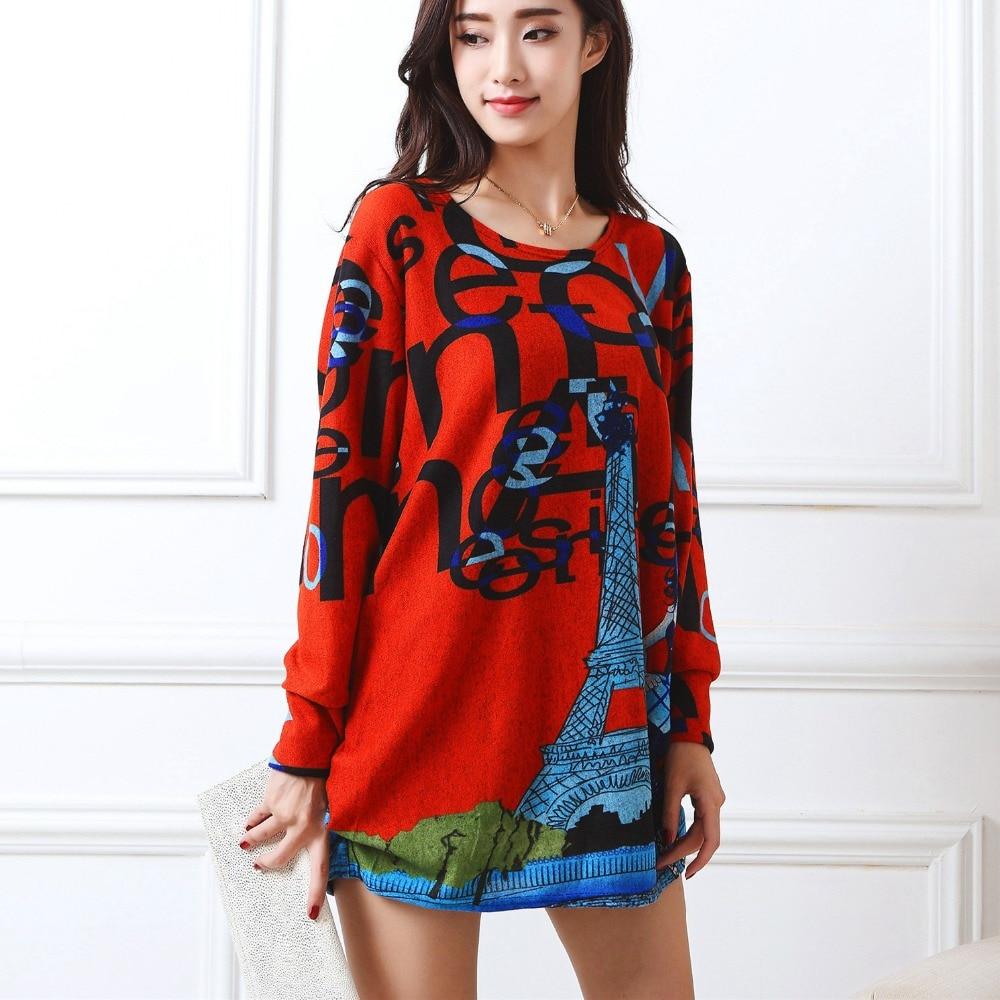 Nauja rudens žiema 2017 Mada Moterų ilgomis rankovėmis Suknelės plius dydžio suknelė Laisva mergaitė atsitiktiniai viršūnės 4xl 5XL tunikos puloveris elegantiškas