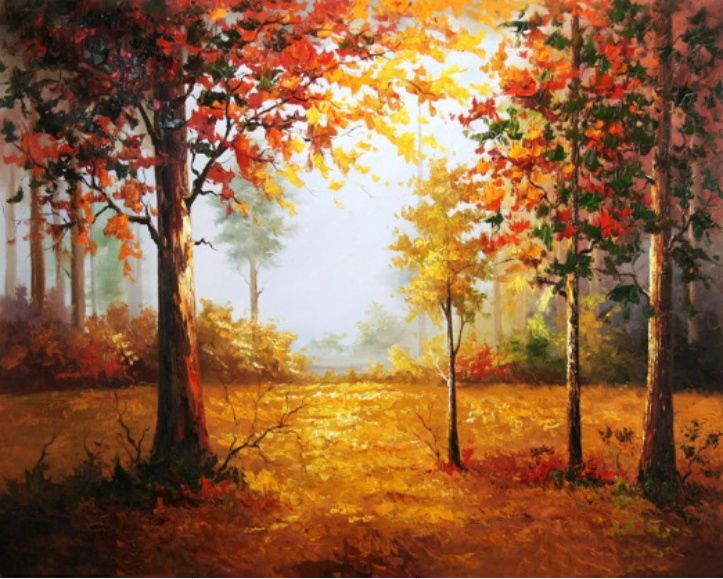 DIY Oil Painting By Numbers Autumn maple Frameless Paint On Canvas Modern Wall Pictures For Living