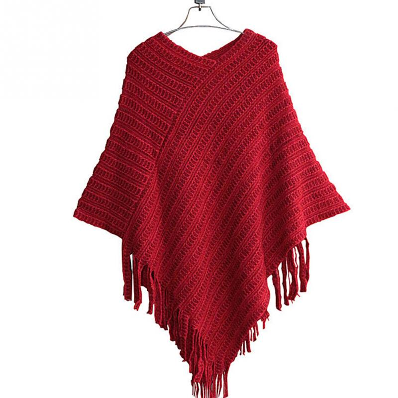Pure Color Women V-neck Batwing Stripes Fringed Irregular Knitted Sweater Cape shawl
