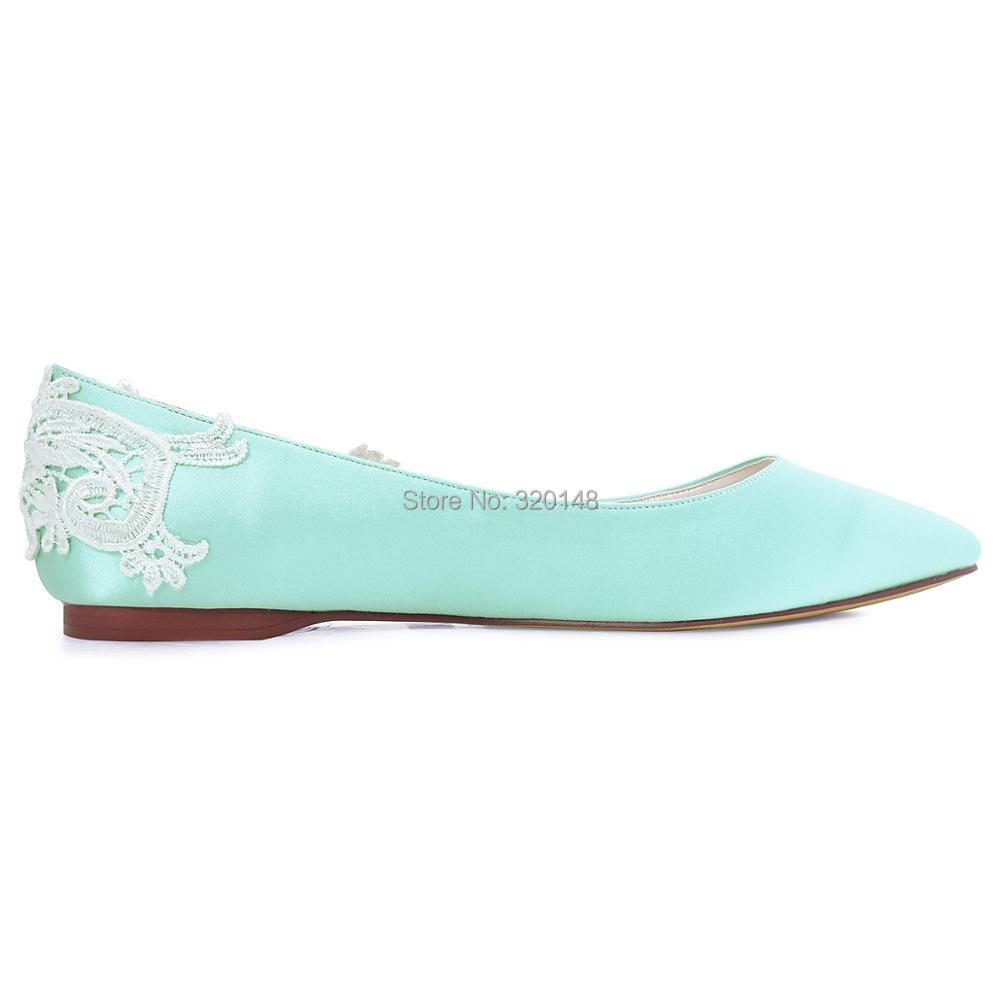 Fc1607 Woman Flats Mint Pointed Toe Comfort Lace Appliques Size 7