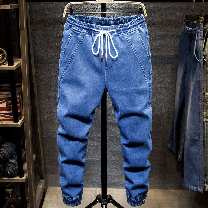 Spring Autumn Harem Denim Jeans Men Loose Drawstring Elastic Waist Spliced Bunch Foot Solid Color Casual Male Jeans Fashion-in Jeans from Men's Clothing