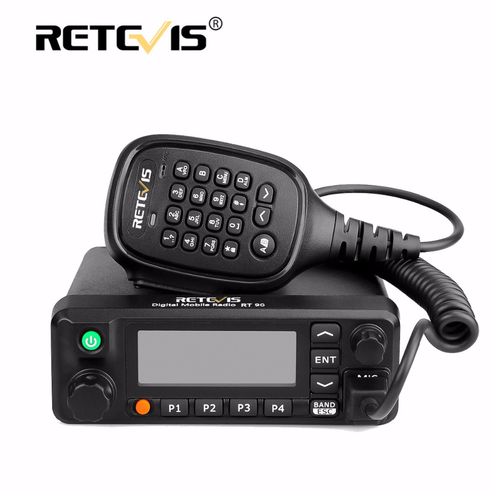 Retevis RT90 Mobile Car Walkie Talkie VHF UHF Dual Band DMR 50W TDMA VOX Digital Analog