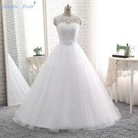 Sapphire Bridal Vestido De Noiva Vintage A Line Lace Appliques Wedding Dress Floor Length Lace Up