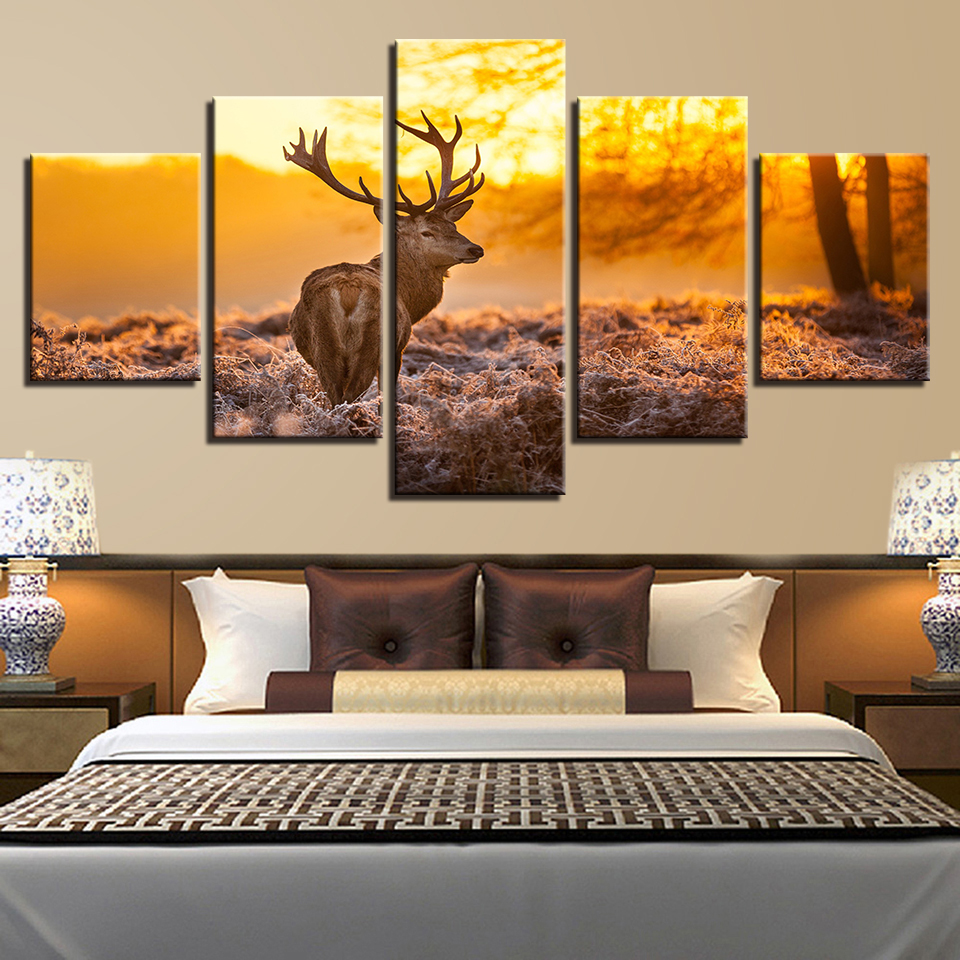Canvas Wall Art Home Decor HD Prints Poster 5 Pieces Snow Deer Forest Landscape Painting Modular Living Room Pictures Framework