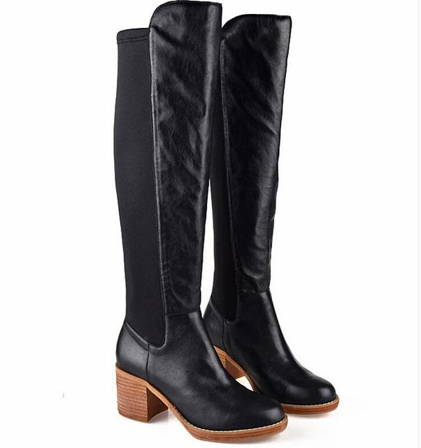 BEANGO Real Leather Knee High Boots Patchwork High Quality Women Riding Boots Squared Low Heel Slim Slip On Autumn Winter Boots