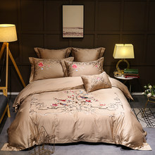 Oriental Embroidery Luxury Golden Grey Bedding set Queen King size Egyptian cottton Bed set Duvet cover Bedsheet/linen set(China)