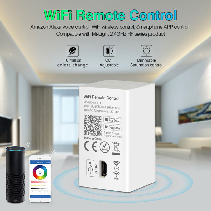 Milight YT1 Remote WIFI LED Controller Amazon Alexa Voice Control WiFi Wireless & Smartphone APP work with Mi.light 2.4G Series-in RGB Controlers from Lights & Lighting