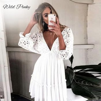 WildPinky Elegant V neck Embroidery Women Dress Ruffle Pleated Lace Up Summer Dresses Casual Sexy Hollow Out Dress Vestido Festa plus tie neck lace insert ruffle botanical dress