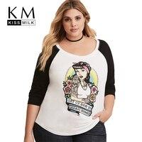 Kissmilk Women Plus Size Personalized Print T Shirt Long Sleeve Casual Multi Color Basic T Shirt