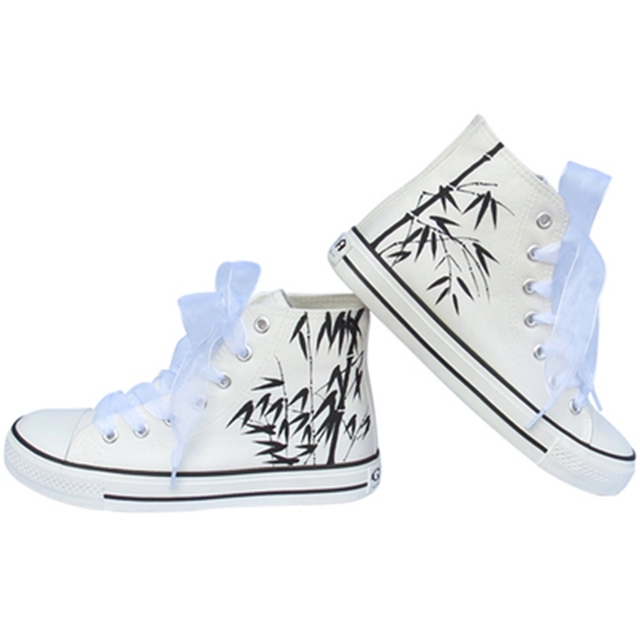 2017 women hand-painted high canvas sweet shoes girls fashion casual shoes platform Student shoes plus size shoes for women