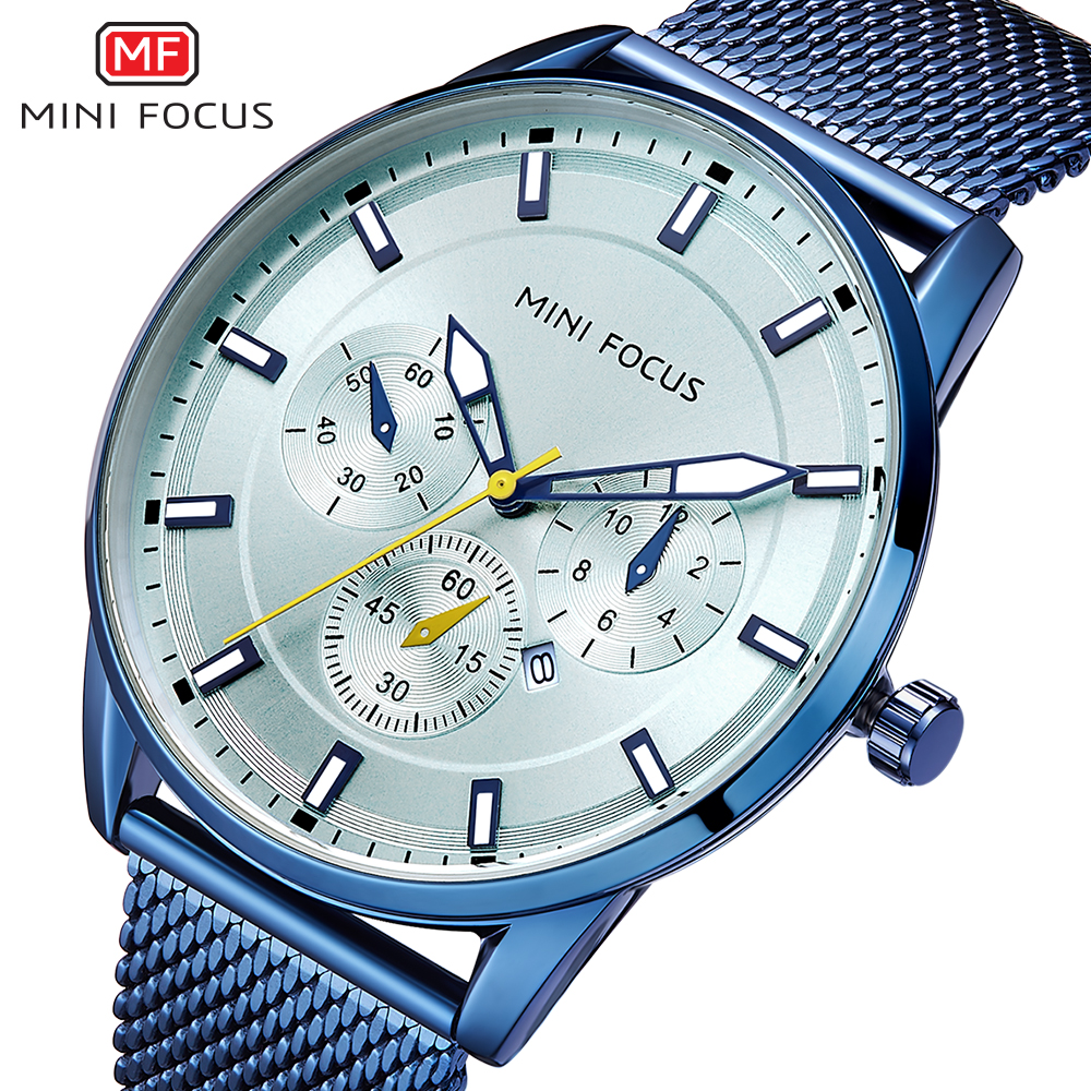 MINI FOCUS Fashion Quartz Watch Men's Luxury Top Brand Steel Men Blue Watches Waterproof Wristwatch Man Dress Casual Clock Male mini focus top brand men stainless steel quartz watch luxury chronograph wristwatch calendar men sports watches male blue clock