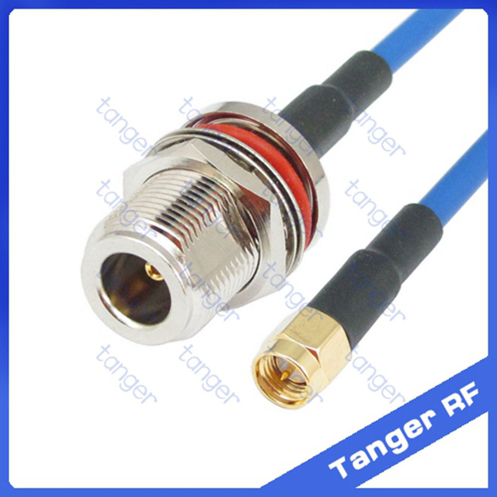 N female waterproof connector to SMA male plug with RG402 RG141 RG-402 Coaxial Jumper blue cable 8 inch 8 20cm RF Low Loss Coax rp sma female to y type 2x ip 9 ms156 male splitter combiner cable pigtail rg316 one sma point 2 ms156 connector for lte yota