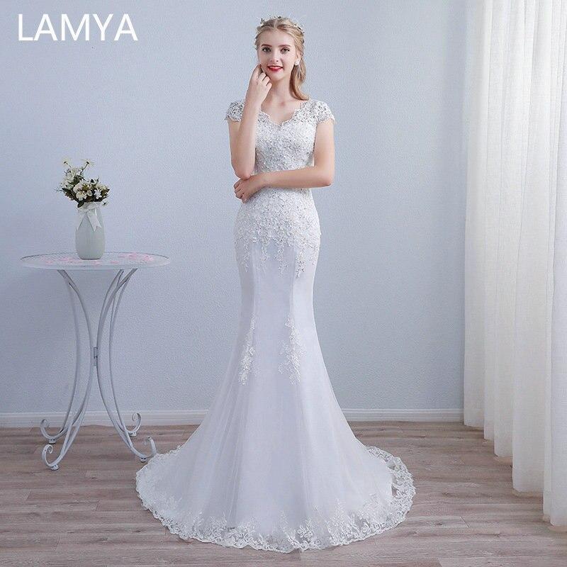 White Lace Mermaid Gown: LAMYA Pure White Lace Mermaid Wedding Dress 2019 Elegabt
