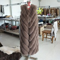 2018 new fur coat fox fur coat long sleeveless coat real fur