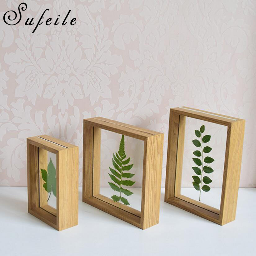 SUFEILE Simple plant specimens double sided glass frame 6 inch solid wood creative decorative frame Family combination frame D5