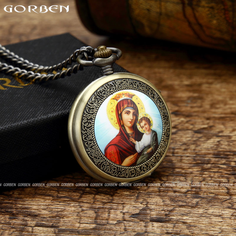 Retro Blessed Virgin Mary Embrace Child Jesus Pocket Watch Womens Mens Classic Christian Catholicism Religious Faith Watch GO55
