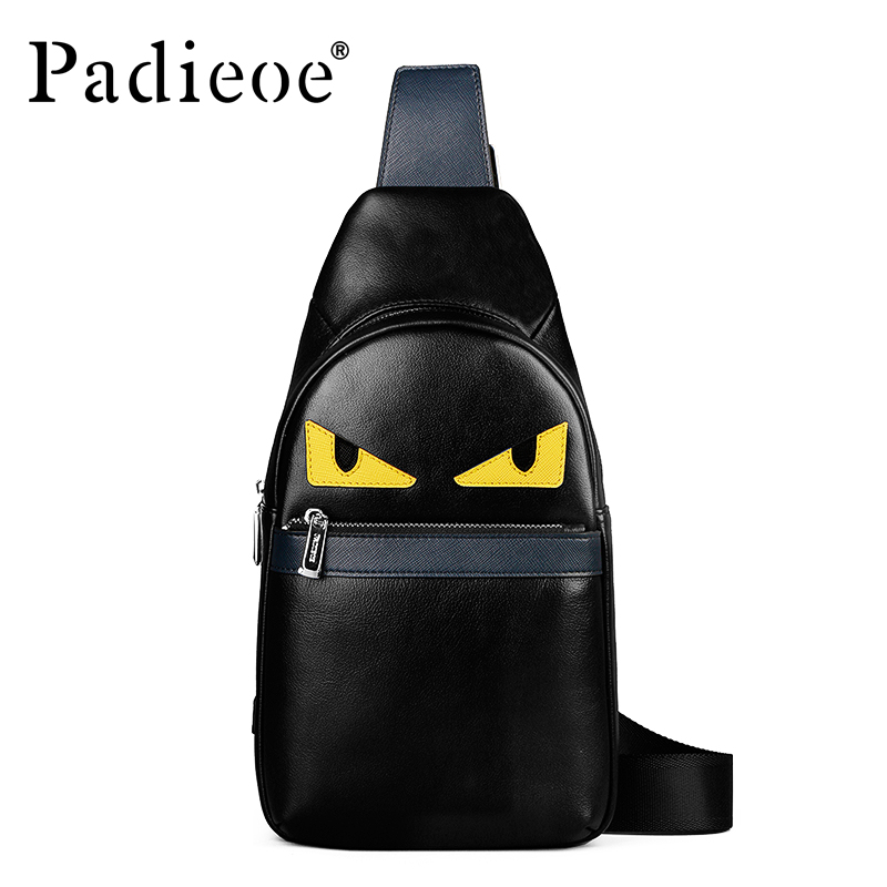 Padieoe Brand Fashion Chest Packs Men Messenger Bags Men's Genuine Leather Shoulder Bag 2018 New Cross Body Bags Free Shipping 100% genuine leather small business men messenger bags cowhide travel shoulder bags for men cross body chest packs 2016