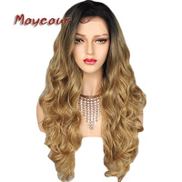 180 Density Long Wavy Wigs with Natural Hairline Synthetic Lace Front Wigs for Women Black Blonde Ombre Color Big Wave Lace Wig
