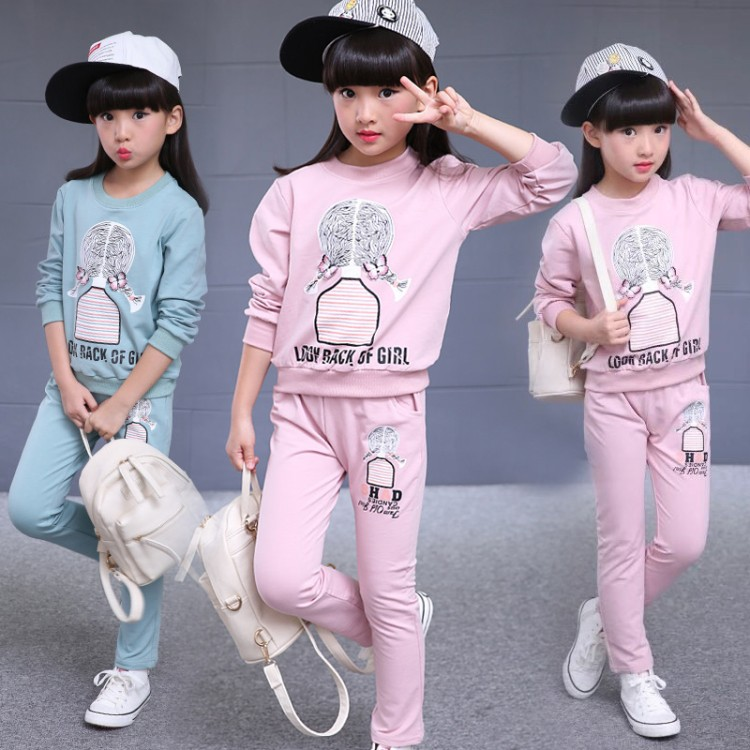 Girl Clothing Set Casual Spring Autumn Kids Sport Suits for Girls 2018 New Cotton 5 6 7 8 9 10 11 13 Year Children Tracksuits children s clothing set autumn sports suit korean tide casual for 4 5 6 7 8 9 10 11 12 13 years girl baseball uniform sportswear