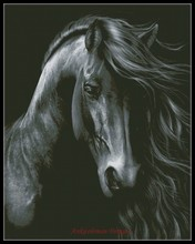 Вышивка Счетный крест Наборы рукоделия-ремесел 14 CT DMC DIY искусства ручной работы Декор-черный конь