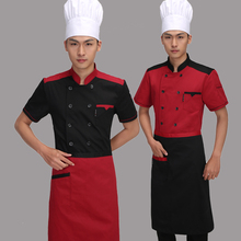 Chef  Wear Short Sleeved Summer Hotel Kitchen Male and Female Western Chef  Uniform Short Sleeved Clothes