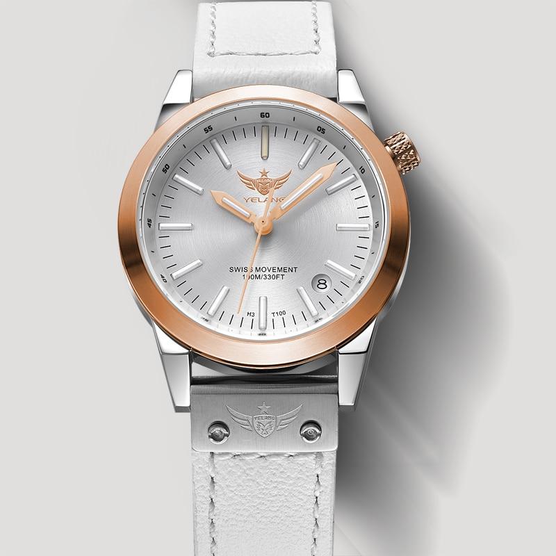 Nouvelle arrivée YELANG V1010 Version de mise à niveau T100 Tritium Orange lumineux étanche dame femmes mode montre à Quartz montre bracelet-in Montres femme from Montres    1