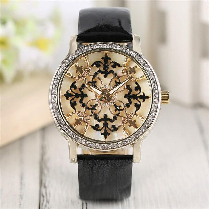Luxury Women Wristwatch Retro Hollow Flower Dial Rhinestone Round Modern Female Bracelet Watch Girls Clock relogio feminino hour cute love heart hollow out bracelet watch for women