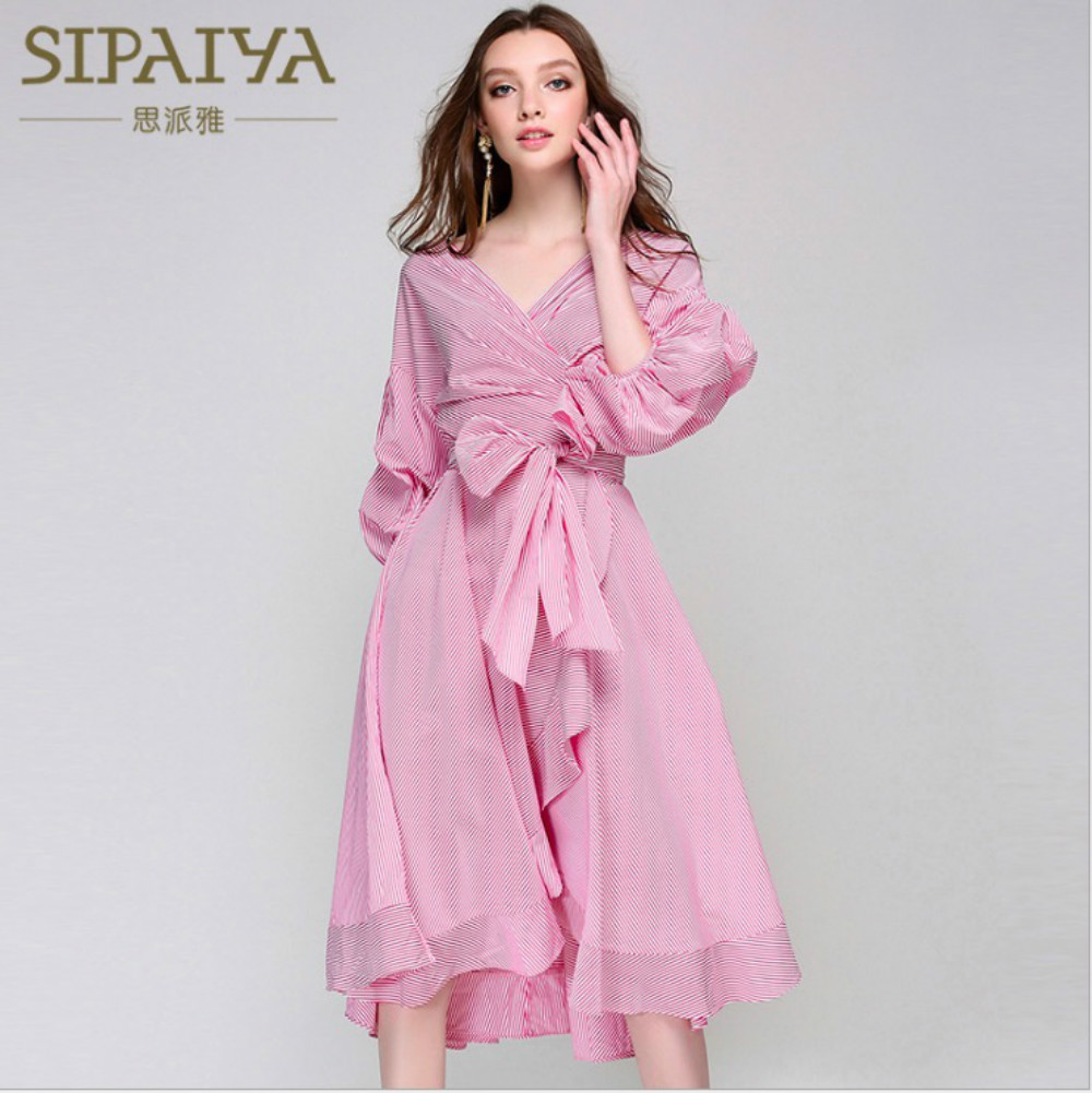 New 2018 Runway <font><b>Women's</b></font> <font><b>Dresses</b></font> Striped <font><b>Pink</b></font> <font><b>Blue</b></font> Loose Mid Long <font><b>Sexy</b></font> Ruffles Three Quarter Lantern Sleeve Female Party <font><b>Dress</b></font> image