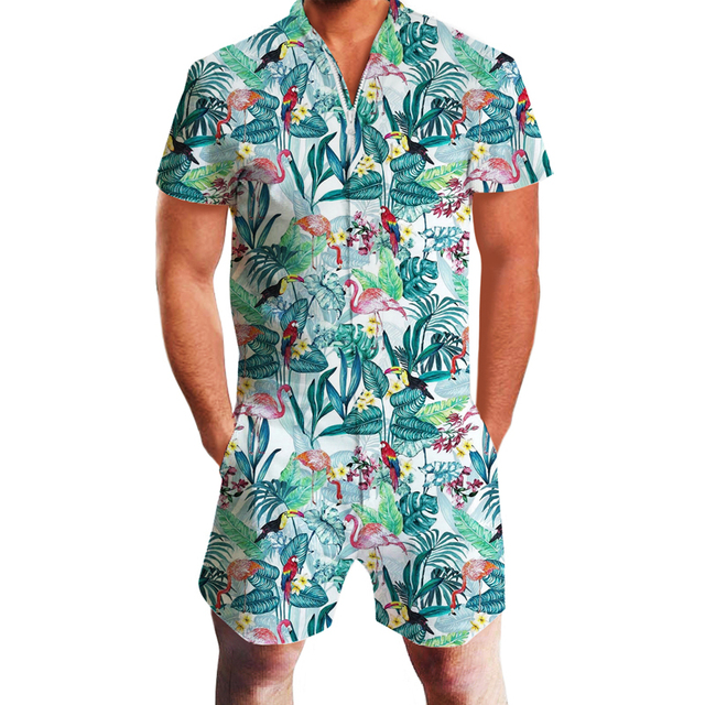 Tiger & Flamingo Print 3D Rompers 4
