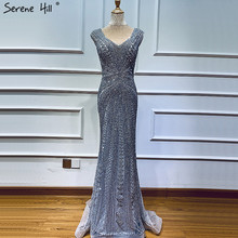 Grey Evening Dresses Long Dubai Design Crystal Sleeveless Sexy Luxury Evening Gowns 2020 Serene Hill BLA60916