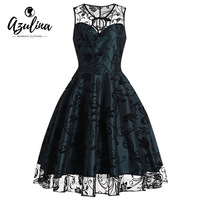 AZULINA Vintage 1950s Floral Dress Women Summer Retro A Line Midi Tulle Lace Mesh Dress Elegant