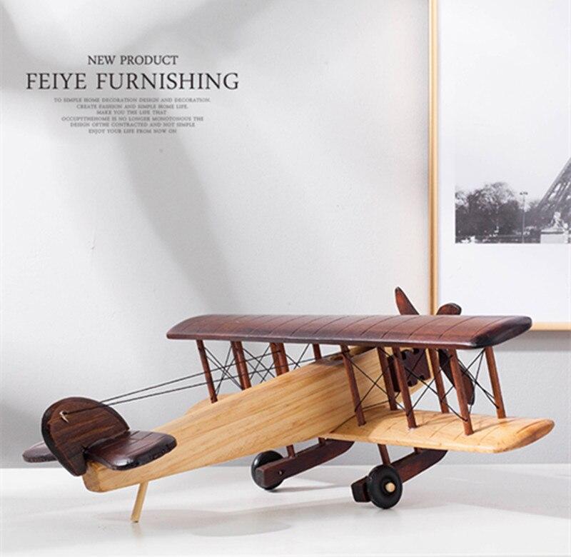 Modèle d'avion statique en bois réplique artisanat bois ameublement enfants cadeaux - 3