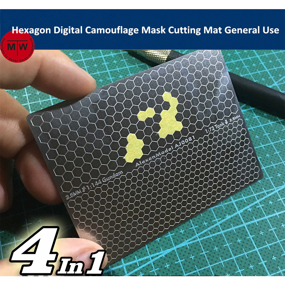 Hexagon Cellular Digital Camouflage Paint Mask Cutting Mat For Gundam Military Model Building Tools Double Side Groove Type