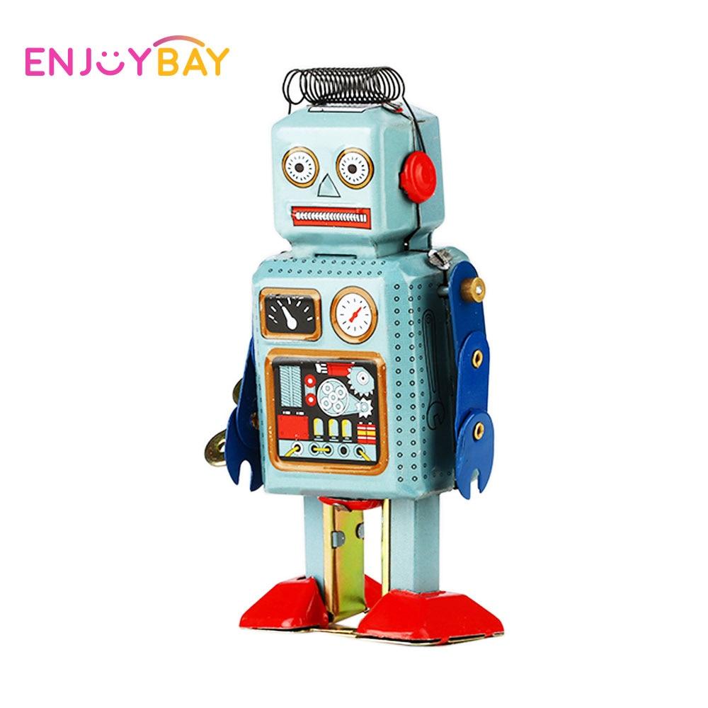 Enjoybay Robot Mechanical Clockwork Wind Up Toys Vintage Walking Radar Robots Tin Toy with Key Retro Metal Doll for Child Gifts