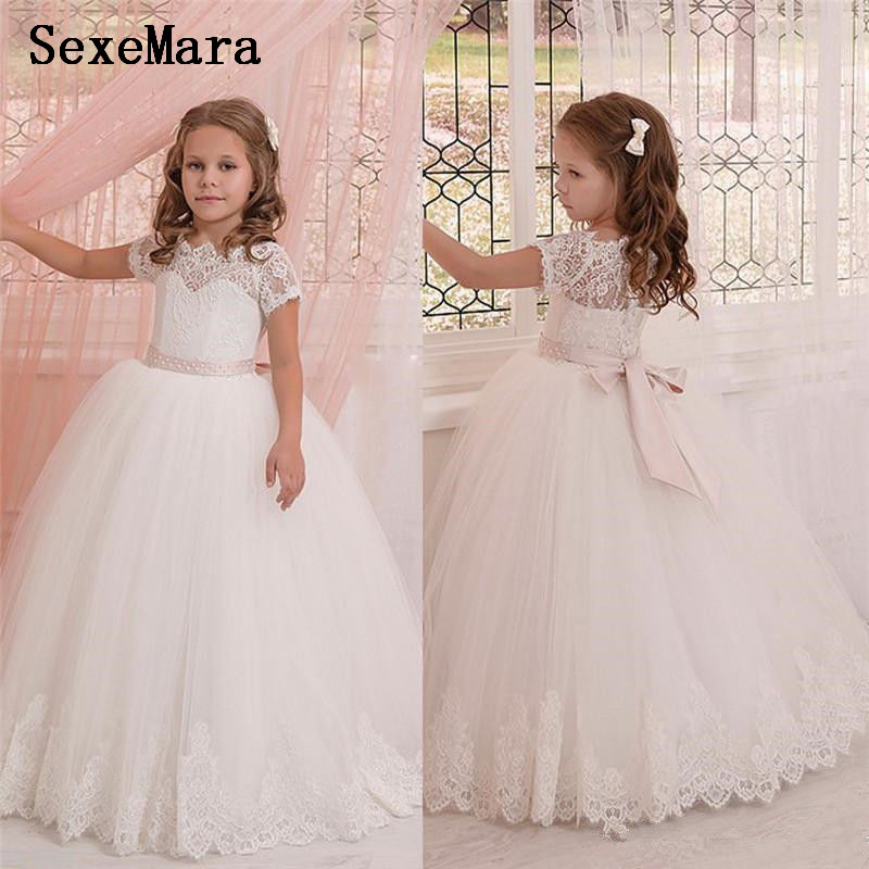 Princess Ball Gown White Lace First Communion Dresses For Girls Floor Length Flower Girl Dresses For Weddings Party Princess Ball Gown White Lace First Communion Dresses For Girls Floor Length Flower Girl Dresses For Weddings Party