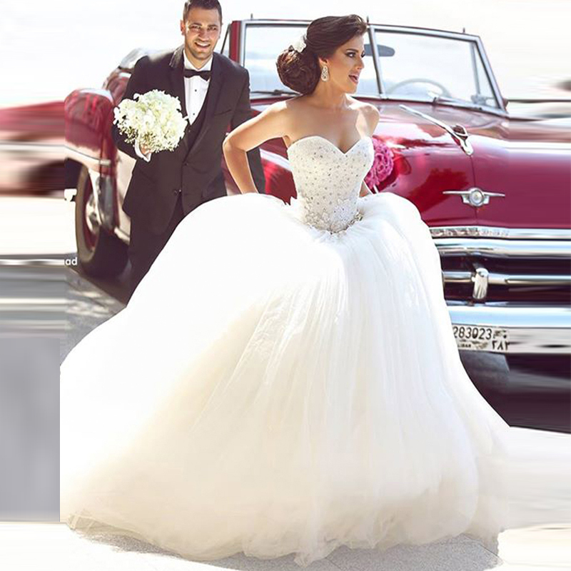 2016 Ball Gown Wedding Dresses Sequins Beaded Lace Up